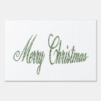 Stylish Green Merry Christmas Text Yard Sign