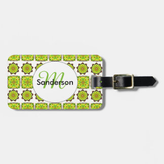 Stylish Green Mix Square Repeat Patterned Design Tags For Bags