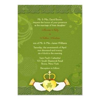 Stylish Green n Gold Irish Wedding Invitations
