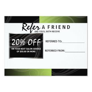 stylish green scissor hair salon referral card
