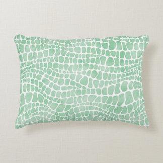 Stylish Green Watercolor Crocodile Skin Pattern Accent Pillow