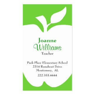 Stylish Green White Apple Teacher Business Card