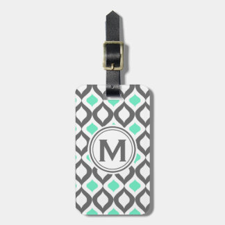 Stylish Grey and Mint Ogee Pattern Bag Tag