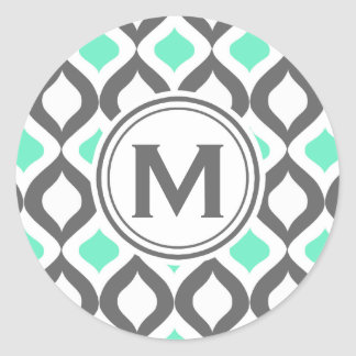 Stylish Grey and Mint Ogee Pattern Classic Round Sticker