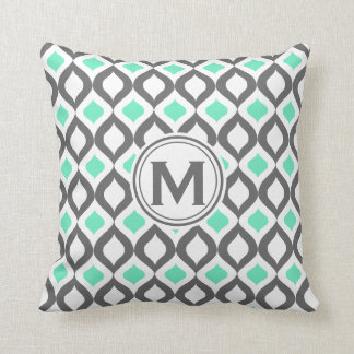 Stylish Grey and Mint Ogee Pattern Throw Pillow