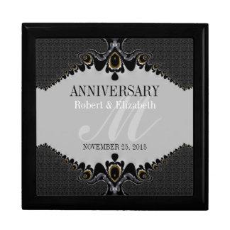 Stylish Grey+Black Ornate Wedding Anniversary Gift Keepsake Boxes