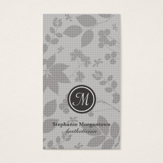 Stylish grey foliage aesthetician business card