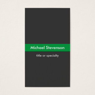 Stylish Grey Green Vertical Business Card