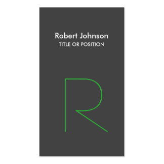 Stylish Grey Green White Monogram Business Card