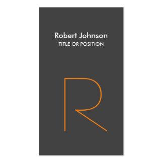 Stylish Grey Orange White Monogram Business Card