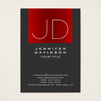 Stylish Grey Red Stripe Monogram Professional Business Card