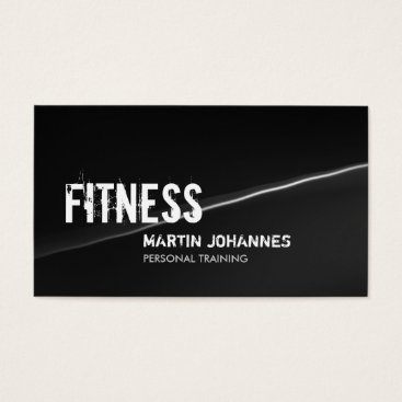 Professional Business Stylish Grey Wave Personal Trainer Business Card