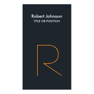 Stylish Greyish Blue Orange Monogram Business Card