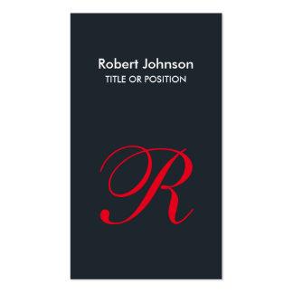 Stylish Greyish Blue Red Monogram Business Card