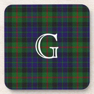 Stylish Gunn Plaid Monogram Coaster