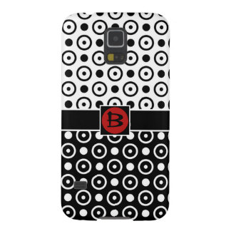 Stylish Half Black Half White polka dots monogram Case For Galaxy S5