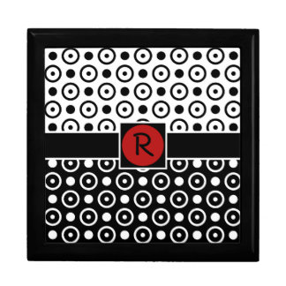 Stylish Half Black Half White polka dots monogram Gift Box