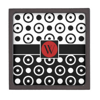 Stylish Half Black Half White polka dots monogram Jewelry Box