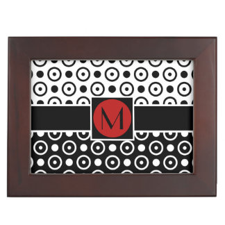 Stylish Half Black Half White polka dots monogram Memory Box