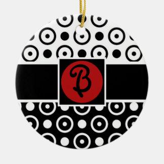 Stylish Half Black Half White polka dots monogram Double-Sided Ceramic Round Christmas Ornament