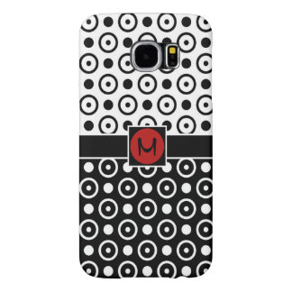 Stylish Half Black Half White polka dots monogram Samsung Galaxy S6 Case