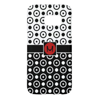 Stylish Half Black Half White polka dots monogram Samsung Galaxy S7 Case