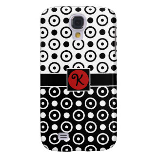 Stylish Half Black Half White polka dots monogram Samsung S4 Case