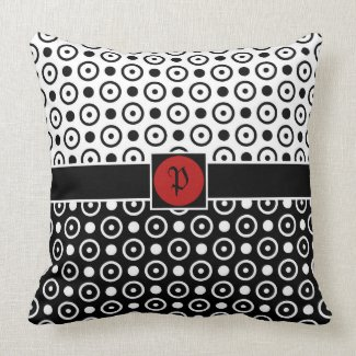 Stylish Half Black Half White polka dots Pillow