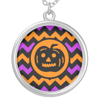 Stylish Halloween pumpkin Silver Plated Necklace
