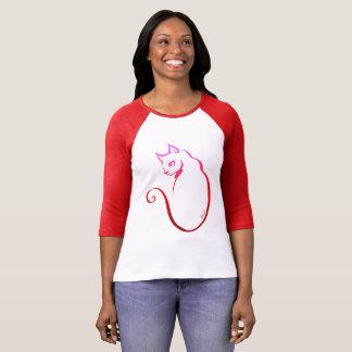 Stylish Hand Drawn Cat Women's Baseball Shirt