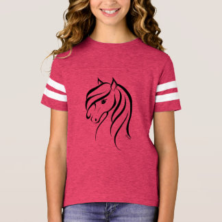 Stylish Hand Drawn Horse Girl's Football Shirt