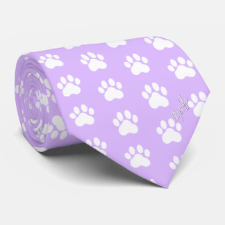 Stylish Hand Drawn Paws Silky Tie | Calm Lavender