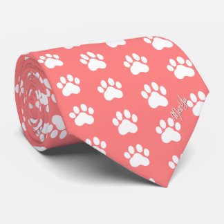 Stylish Hand Drawn Paws Silky Tie | Coral Red