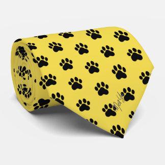 Stylish Hand Drawn Paws Silky Tie   Honey Yellow