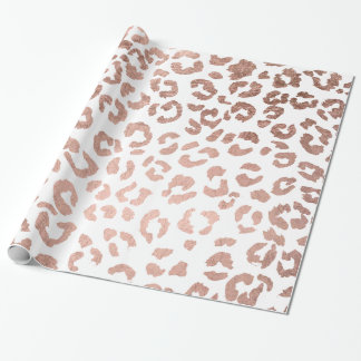 Stylish hand drawn rose gold leopard print wrapping paper