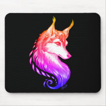 Stylish Hand Drawn Wolf Comfy Sunset Mouse Pad