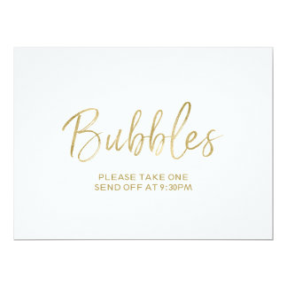 """Stylish Hand Lettered """"Bubbles"""" Send Off  Sign Card"""