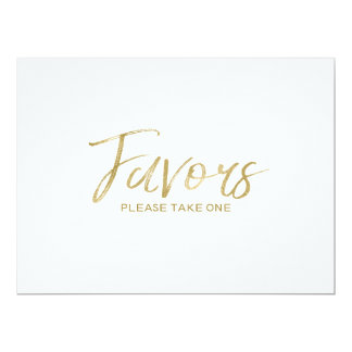"Stylish Hand Lettered Gold Custom ""Favors"" Sign Card"