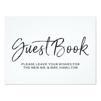 Stylish Hand Lettered Guest Book Wedding Sign Card