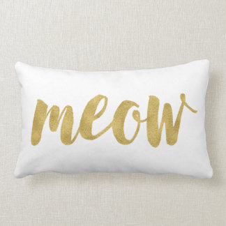 Stylish Hand Lettered Meow Kitty Cat Decorative Lumbar Pillow