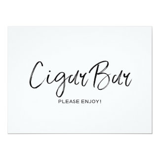 "Stylish Hand Lettered Wedding ""Cigar bar"" Sign Card"