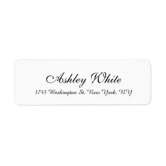 Stylish Handwriting White Plain Elegant Unique Label