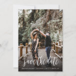 "Stylish Handwritten Save the Date Card<br><div class=""desc"">Share your wedding date in style with this stylish and unique brush script style wedding photo postcard.</div>"