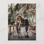 "Stylish Handwritten Save the Date Postcard<br><div class=""desc"">Share your wedding date in style with this stylish and unique brush script style wedding photo postcard.</div>"