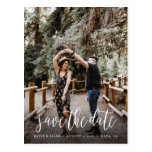 Stylish Handwritten Save the Date Postcard<br><div class='desc'>Share your wedding date in style with this stylish and unique brush script style wedding photo postcard.</div>