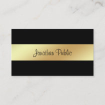Stylish Handwritten Script Glamour Black Gold Luxe Business Card