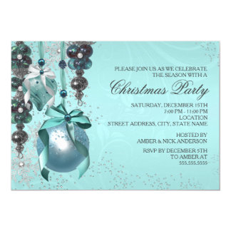Stylish Hanging Ornaments Christmas Party Invite