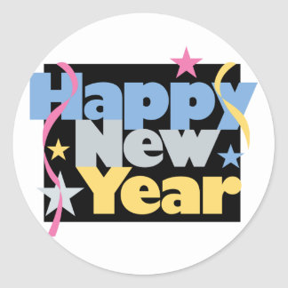 Stylish Happy New Year Classic Round Sticker