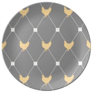 Stylish Harlequin Chicken Pattern Dinner Plate