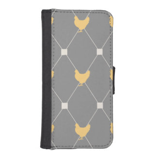 Stylish Harlequin Chicken Pattern Wallet Phone Case For iPhone SE/5/5s